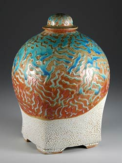 Wood fired stoneware jar