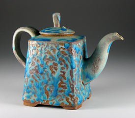 Thrown and altered teapot